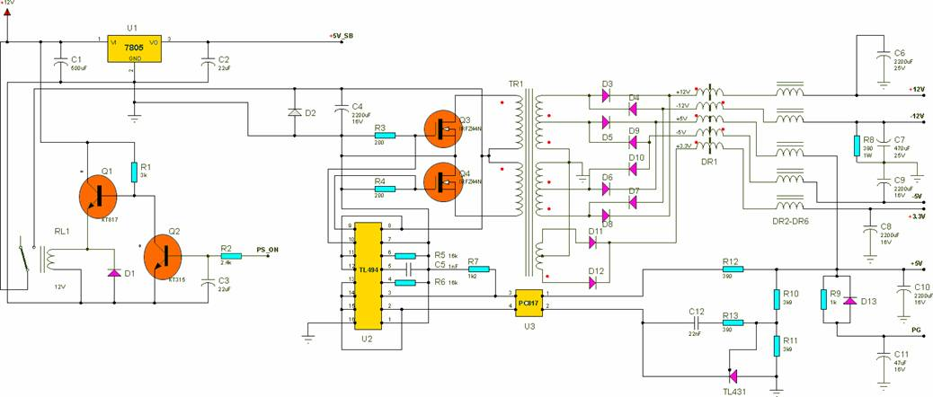 Схема блока питания форм-фактора ATX, при использовании автомобильной АКБ.